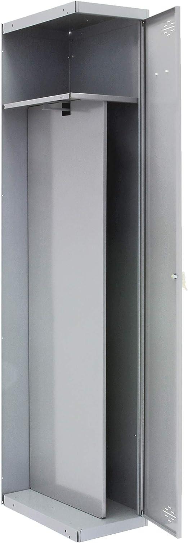 Taquilla profesional desmontada adicional 1 cuerpo 1 puerta con divisor dentro Gris//Gris Simonrack 1800x400x500 mms Necesita un m/ódulo inicial Taquilla industrial taquilla de vestuario