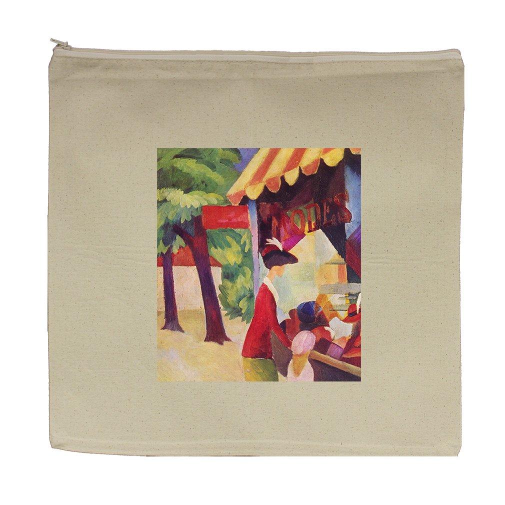 Hutladen Woman Red Jacket Child (Macke) Canvas Zipper Tote Bag Makeup Bag