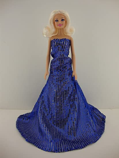 Set of 2 Sequined Gowns in Blue and Pink Made to Fit Barbie and Ken Dolls
