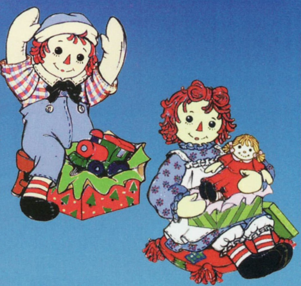 Raggedy Ann with Doll /& Raggedy Andy with Train Ornaments