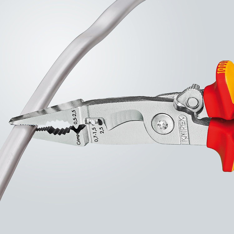 KNIPEX 13 96 200 Alicate para instalaciones eléctricas cromado aislados con fundas en dos componentes, según norma VDE 200 mm