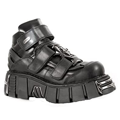 New Rock M.285-S1 Metallic Black Strapped Leather Gothic Punk Unisex Shoes Boots