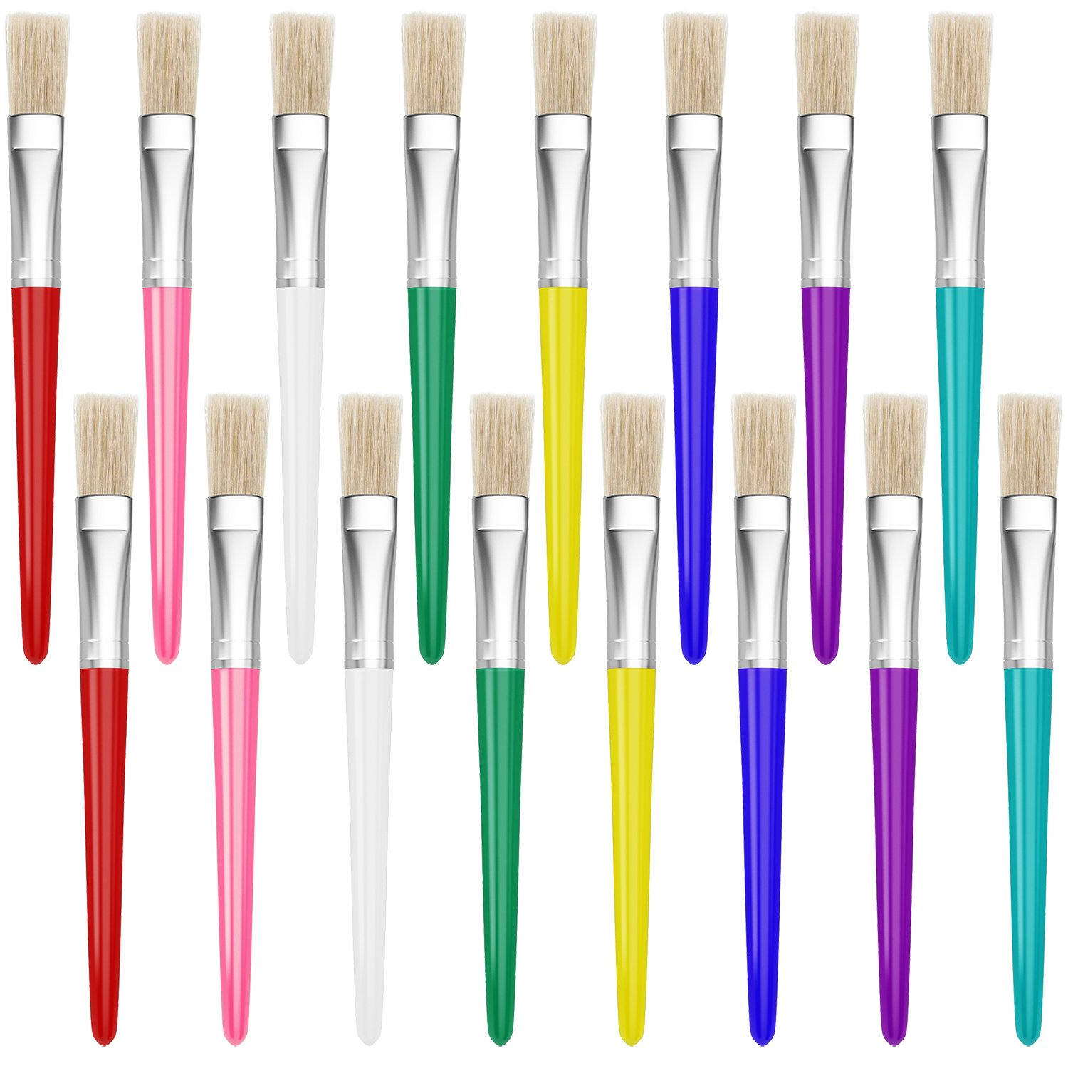 16 Piece Large Flat Tip Paint Brushes Hog Bristle Tempera and Artist Paint Brushes for Kids with Short Stubby Plastic Handle-Assorted Colors Leyaron 003-PB-1
