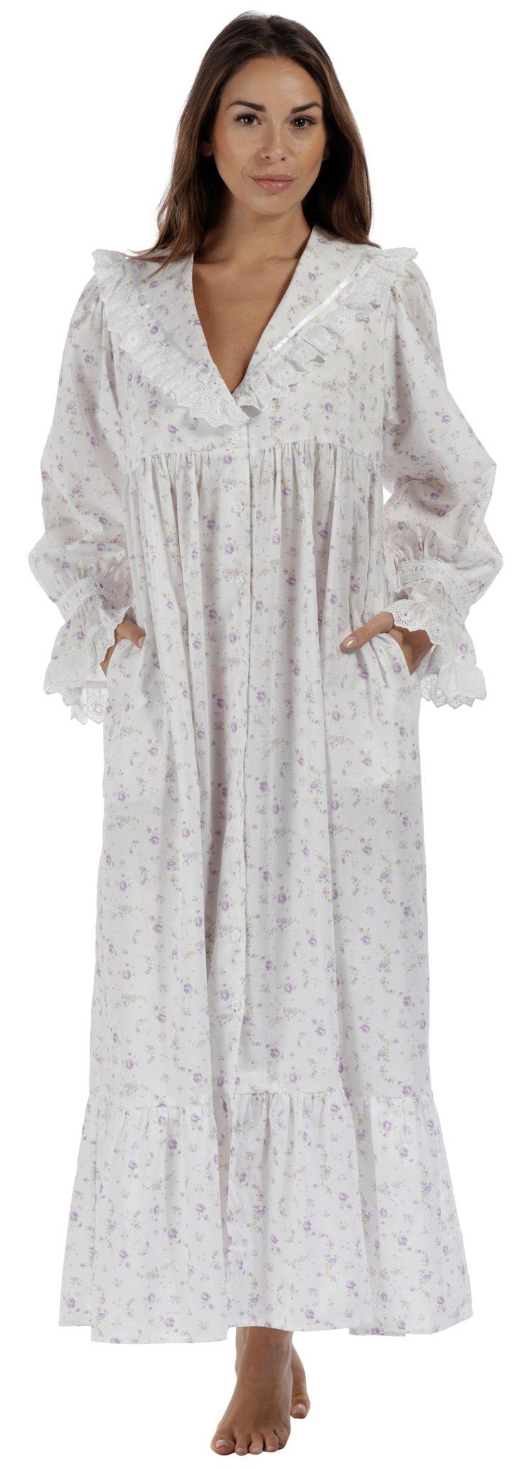 Womens Cotton Victorian Style Nightgown Sleep Dress