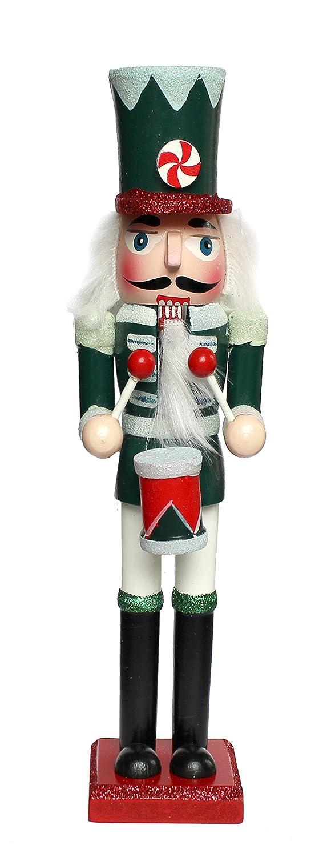 Buzz Schiaccianoci natalizio in legno tradizionale soldato con tamburo decorazione–verde, rosso & bianco–Christmas glitter dettaglio–24cm WB