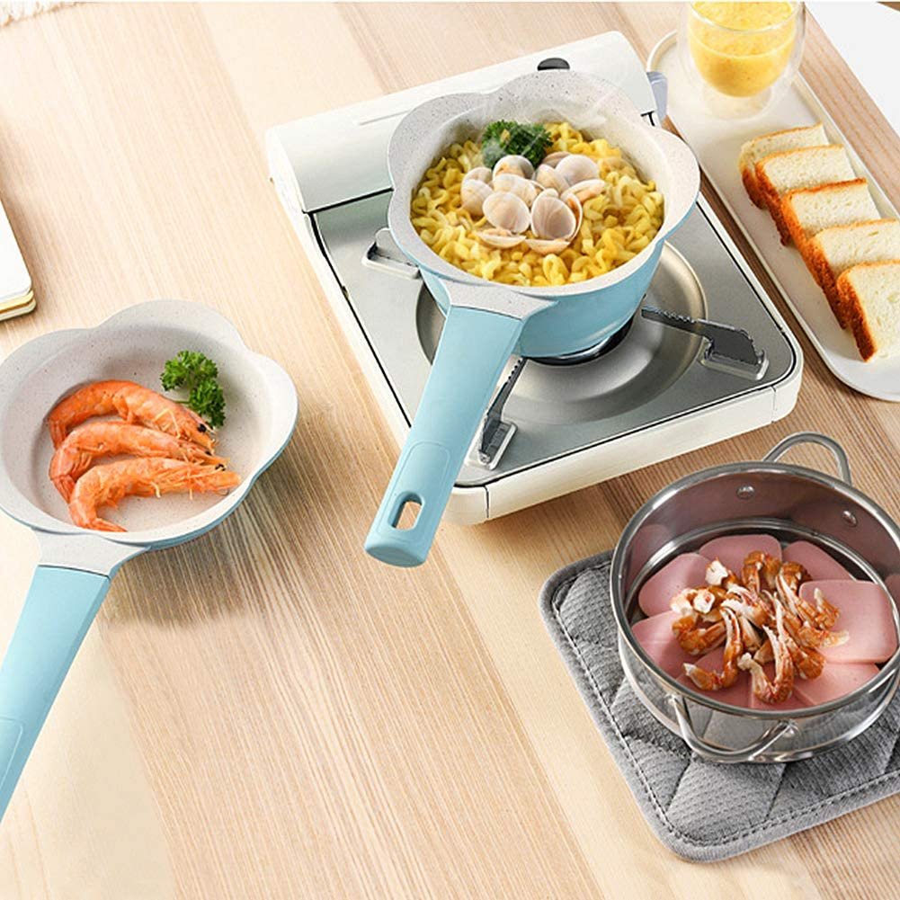 MANO 4-Piece Ceramic Cookware Set Pots and Pans Set Nonstick Dishwasher Safe Mini Saucepan Frying pan Steamer Insert Milk Pot Egg pan for Baby Kids Food Cooking,Blue