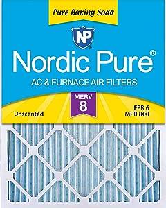 "Nordic Pure 16x20x1 Pure Baking Soda Odor Deodorizing AC Furnace Air Filters, 16"" x 20"" x 1"", 3"