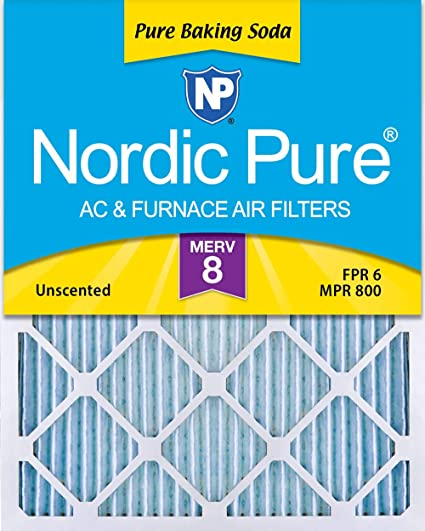 Nordic Pure 12x18x1 Exact MERV 8 Pure Carbon Pleated Odor Reduction AC Furnace Air Filters 4 Pack