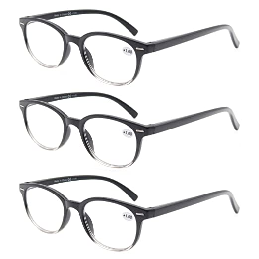 589c6c6f31 MODFANS Round Stylish Reading Glasses 3 Pair with Spring Hinge Fashion  Glasses for Reading for Men