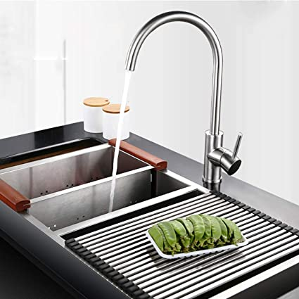 Best Brushed Nickel Stainless Steel Kitchen Sink Faucet 100% Safe Lead-Free  Single Handle Single Hole Hot and Cold Kitchen Faucets with Free Hot& Cold  ...