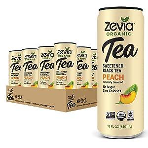 Zevia Organic Black Tea Peach, 12 Count, Sugar-Free Brewed Iced Tea Beverage, Naturally Sweetened with Stevia, Zero Calories, No Artificial Sweeteners