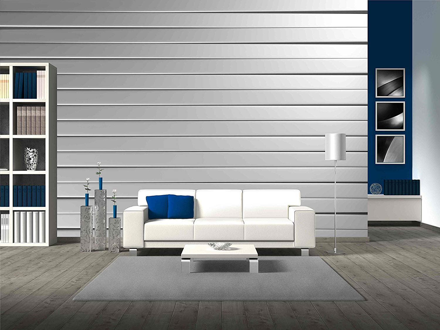 wall26 Aluminum Stripe Pattern Background - Wall Mural | Self-adhesive Large Wallpaper - 66 x 96 inches