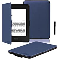 """ProElite Ultra Slim Flip Case Cover for Amazon Kindle E Reader 6"""" 8th Generation 2016 Launch (Dark Blue, Auto Sleep Wake with magnetic lock) with Stylus Pen [will NOT FIT Paperwhite]"""