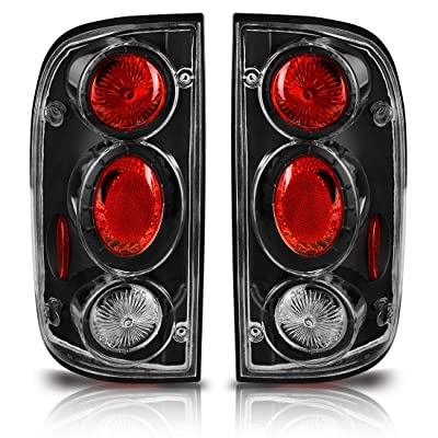Taillights Tail Lamps Compatible with Toyota Tacoma 2001 2002 2003 2004 (Black Clear Replacement Assembly Fit All Models Sold in Pairs) ATTL005W: Automotive