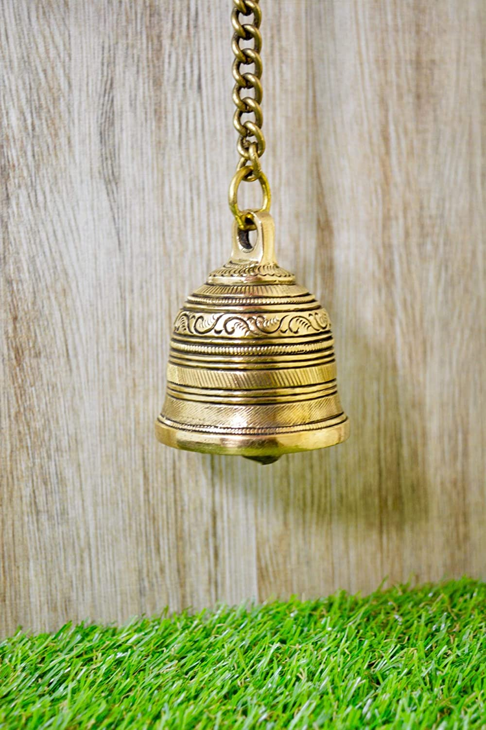 Aakrati Vintage Matte Wall Hanging Bell with Brass Chain and Hook for Gates, Home, Office and Temple