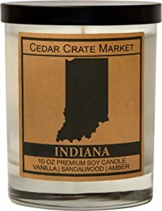 Indiana Kraft Label Scented Soy Candle, Vanilla, Sandalwood, Amber, 10 Oz. Glass Jar Candle, Made in The USA, Decorative Candles, Going Away Gifts for Friends, State Candles
