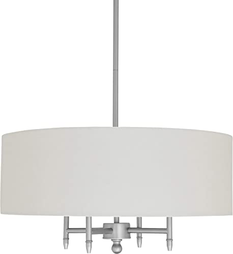 Amazon Brand Stone Beam Classic Ceiling Pendant Chandelier Fixture With White Drum Shade- 20 x 20 x 42 Inches, Brushed Nickel