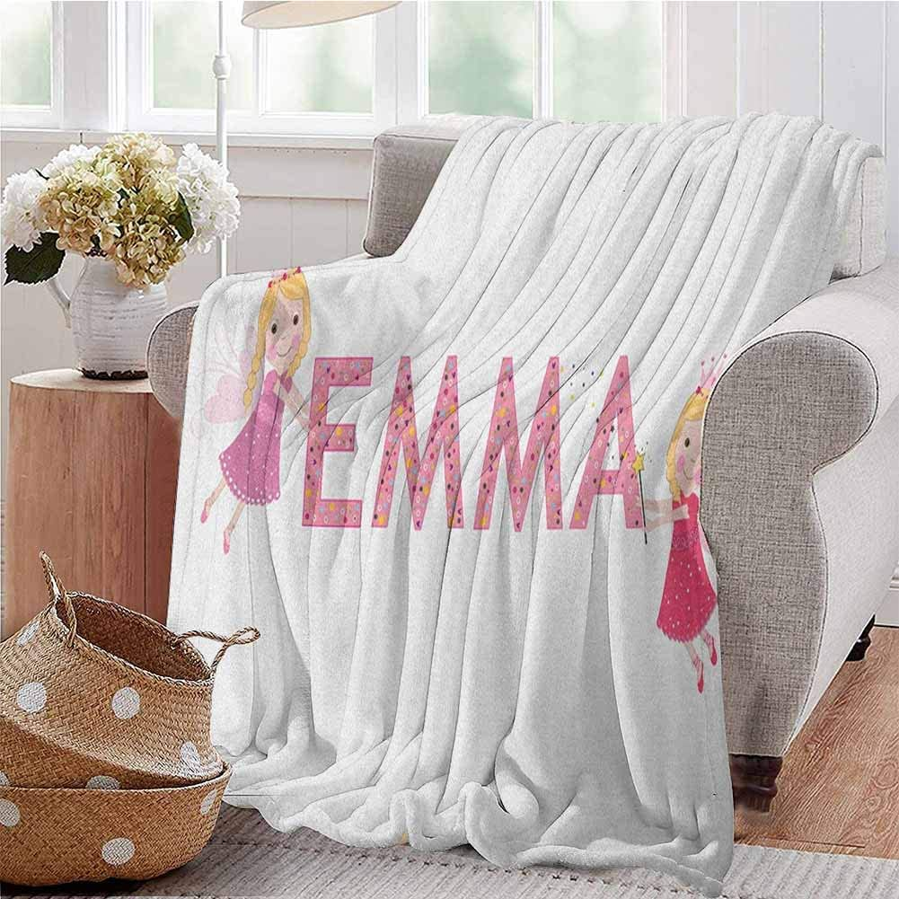 Luoiaax Emma Bedding Flannel Blanket Cute Fairy Princesses Holding a Popular Widespread Girl Name with Polka Dots Pattern Super Soft and Comfortable Luxury Bed Blanket W60 x L50 Inch Multicolor