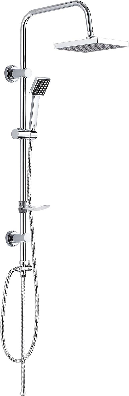 DP Grifería RY-S002 Azabache - Set de ducha cuadrado sin grifo, acero inoxidable, plateado, altura de 98 cm