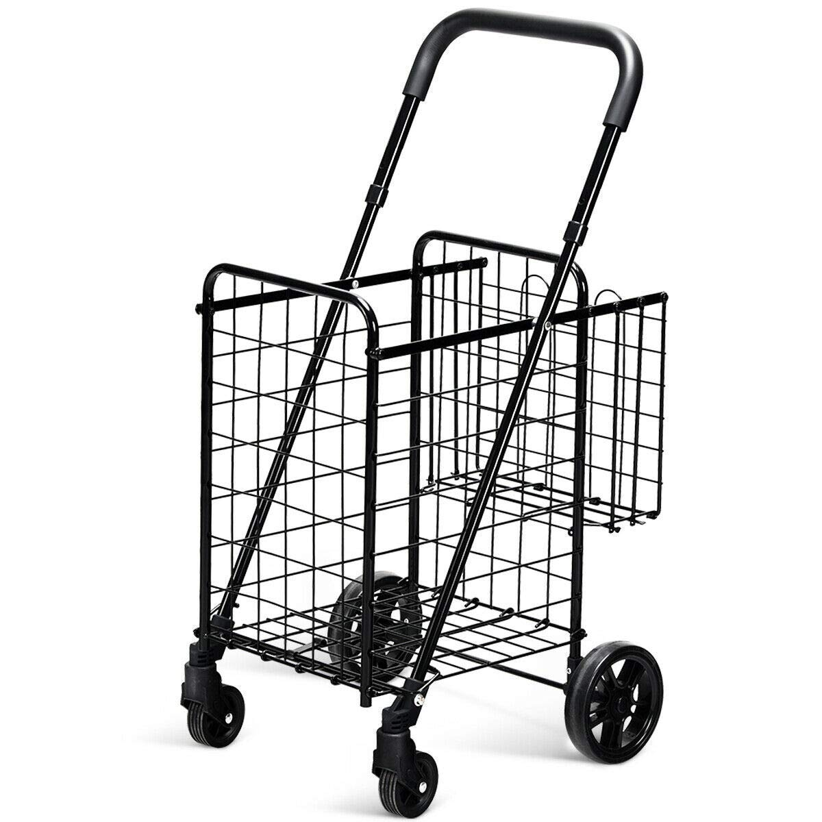 Goplus Folding Shopping Cart Double Basket Perfect for Grocery Laundry Book Luggage Travel with Swivel Wheels by Goplus