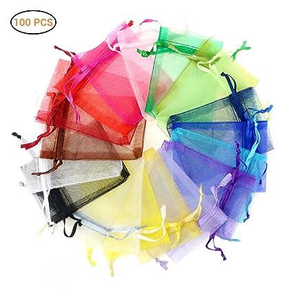 Hihey Saco de Organza 100x Bolsa de Organza 10 Colores Bolsa ...