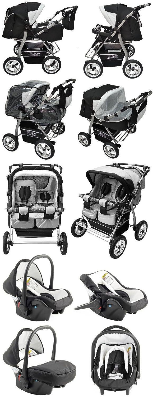 Zwillingskinderwagen mit babyschale  Akjax