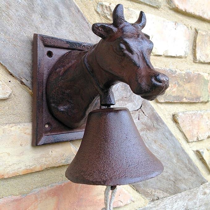 Antikas - timbre de hierro con vaca - timbre campana jardín puerta de casa - timbres para puertas: Amazon.es: Bricolaje y herramientas