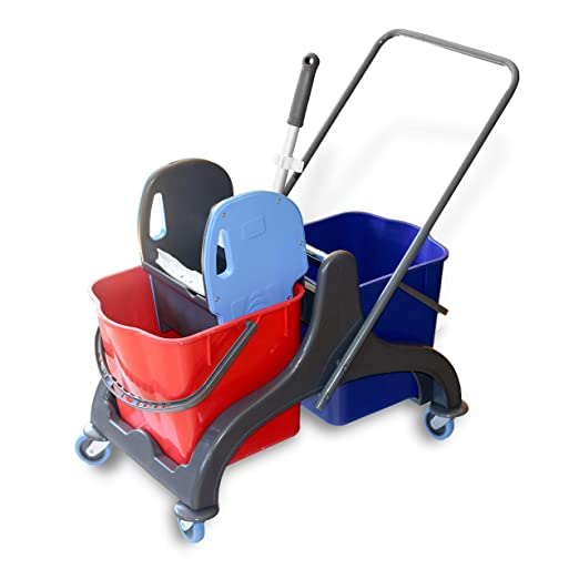 putzeimer Putzwagen mit Presse Reinigungswagen Mop Eimer Wischer Hotel Reinigung Mop 20L zum Auswringen ohne B/ücken Wischmopp f/ür einfache Reinigung und saubere H/ände