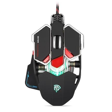 EasySMX Combaterwing Ratón óptico con USB, cambio de color, ratón para jugadores, 4800