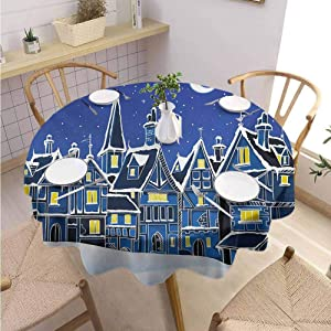 "DILITECK Xmas Dining Round Tablecloth Town in Snow Old Houses Winter Season Moon and Stars Night Christmas Inspired Daily use Diameter 36"" Blue Yellow White"