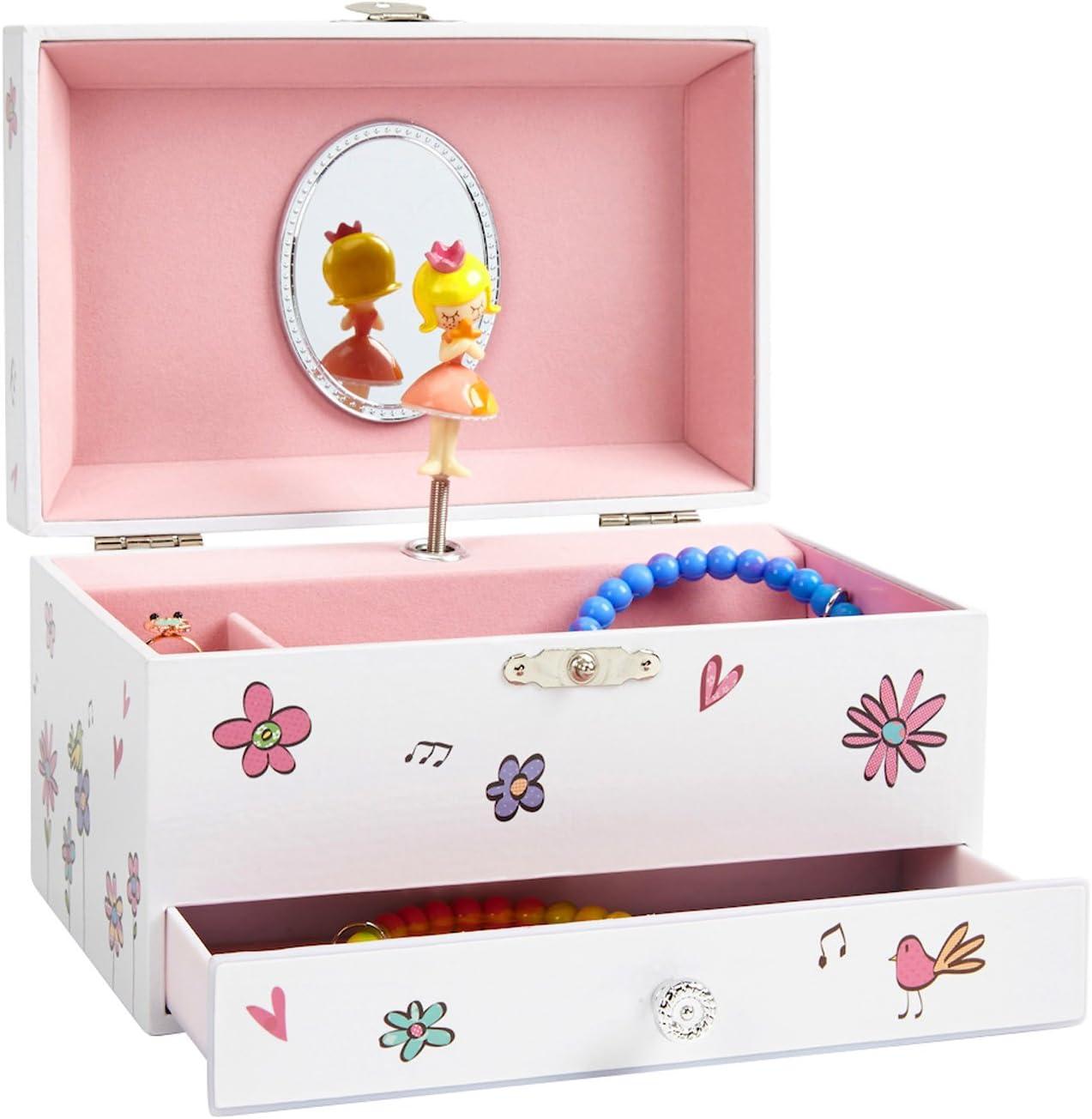 Jewelkeeper - Caja Musical para Joyas Blanca para Niñas, Decorada de Flores y Pájaros, con Cajón Extraíble - Melodía del Vals de Las Flores