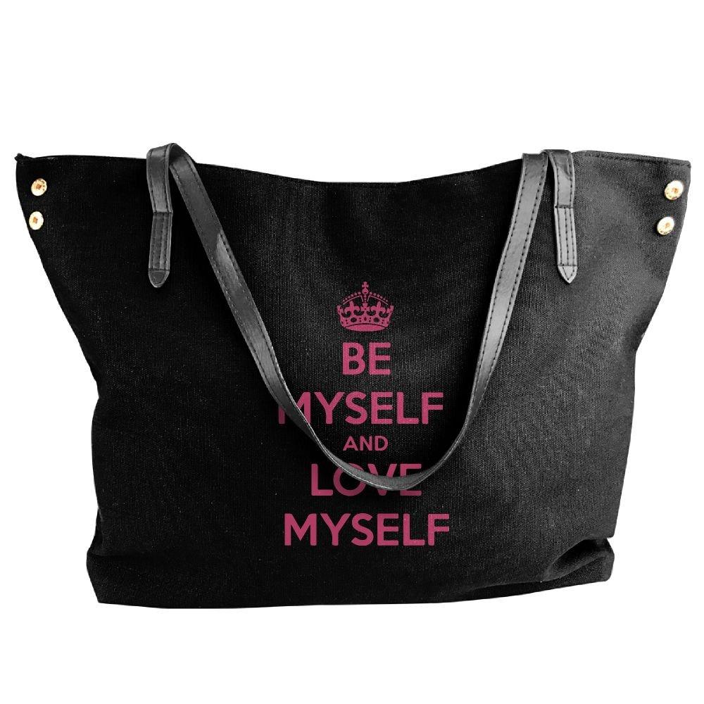 Women's Canvas Large Tote Shoulder Handbag BE MYSELF AND LOVE MYSELF Hobo Bag