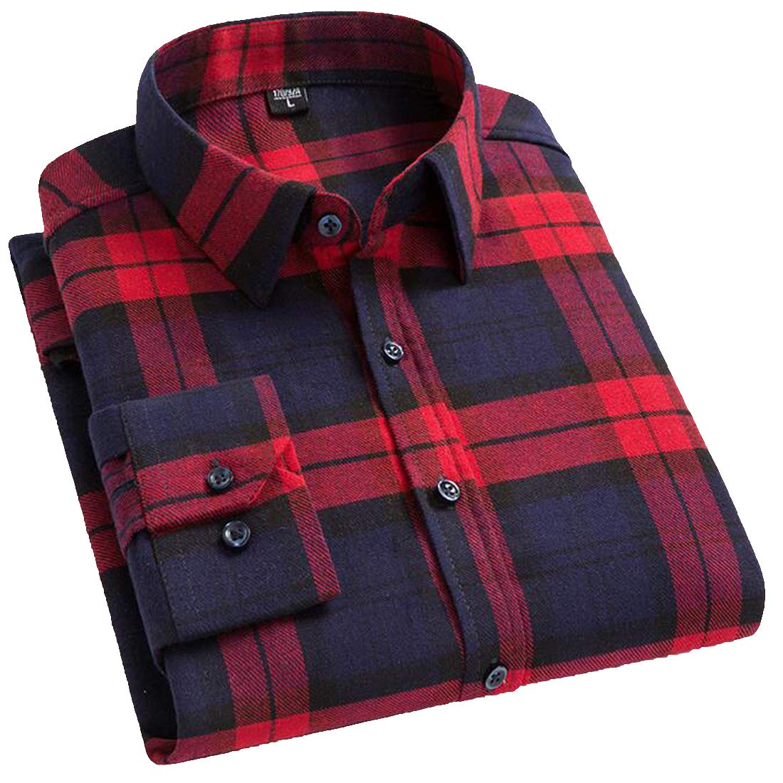 Hajotrawa Mens Casual Buffalo Long Sleeve Button Down Check Cotton Shirts