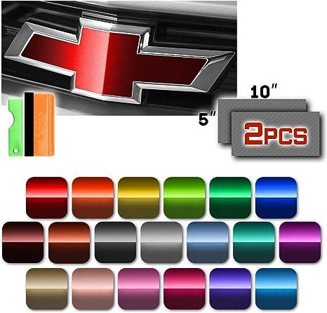 """*2pcs 5/""""x10/"""" 3D Matte Carbon Fiber Chevy Emblem Bowtie Vinyl Wrap Decal Overlay"""