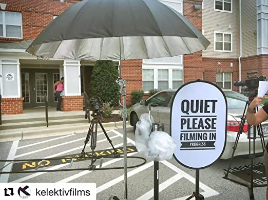 """Office Large Size 24/"""" x 36/"""" Ideal for Recording for Studio Filming /& Camera Crews Quiet Please Filming in Progress Double-Sided Collapsible Reflective Sign On-Location /& Business Use"""