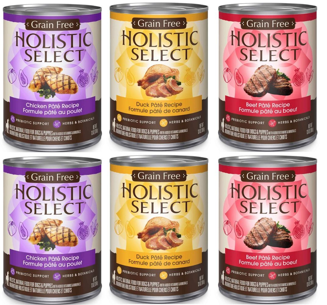 Holistic Select Natural Wet Grain Free Canned Dog Food 3 Flavor Variety Bundle 2 Chicken Pate Recipe, 2 Duck Pate Recipe, 2 Beef Pate Recipe, 13 Oz Each 6 cans Total