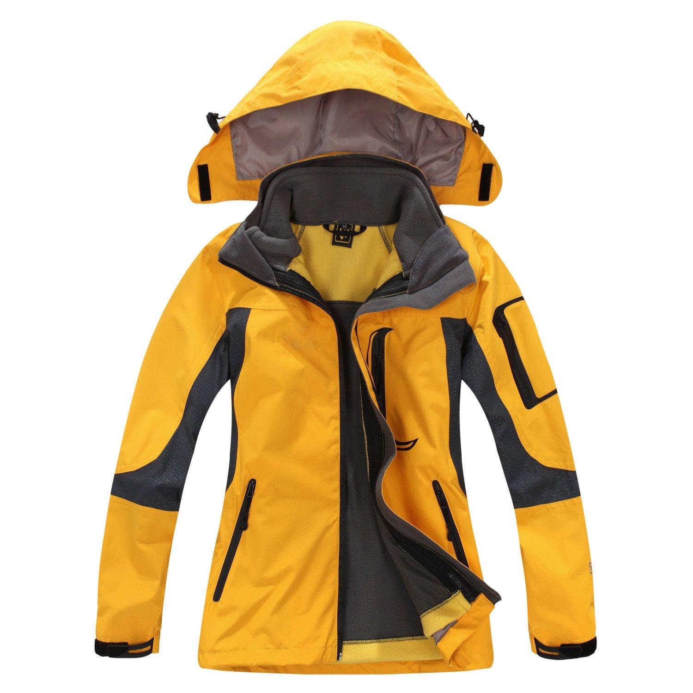 SYRINX Damen 3 in 1 Winddicht Wasserdicht Atmungsaktiv Outdoor Sport Camping Wandern Jacke Mantel mit Fleecejacke