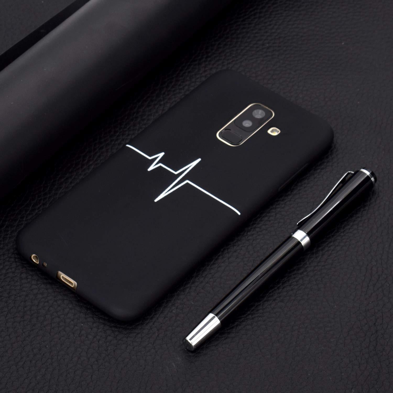 EuCase 2X Cover per Samsung A6 Plus 2018 Cover per Samsung A6 Plus 2018 Silicone Nero Ultra Sottile Morbido TPU Custodia per Samsung A6 Plus 2018 Antiurto Flessibile Protettivo Bumper Case Amare