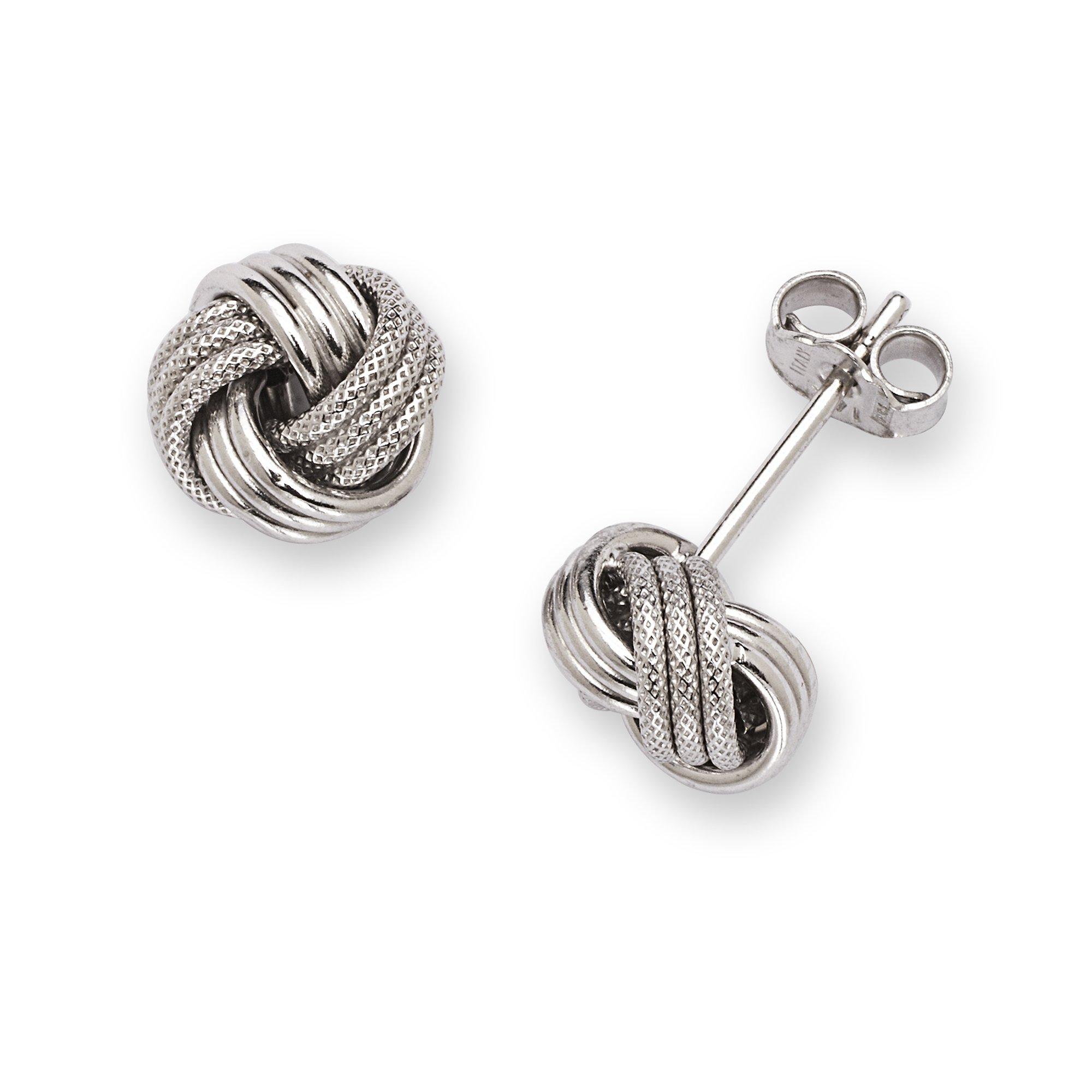 14k White Gold Polish Textured 8mm Love Knot Earrings - JewelryWeb