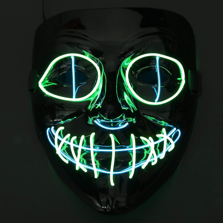 Máscaras Halloween LED,Fansport Mascaras de Halloween para la Navidad Cosplay Grimace Festival Party Show,Horror Máscara para Halloween Navidad
