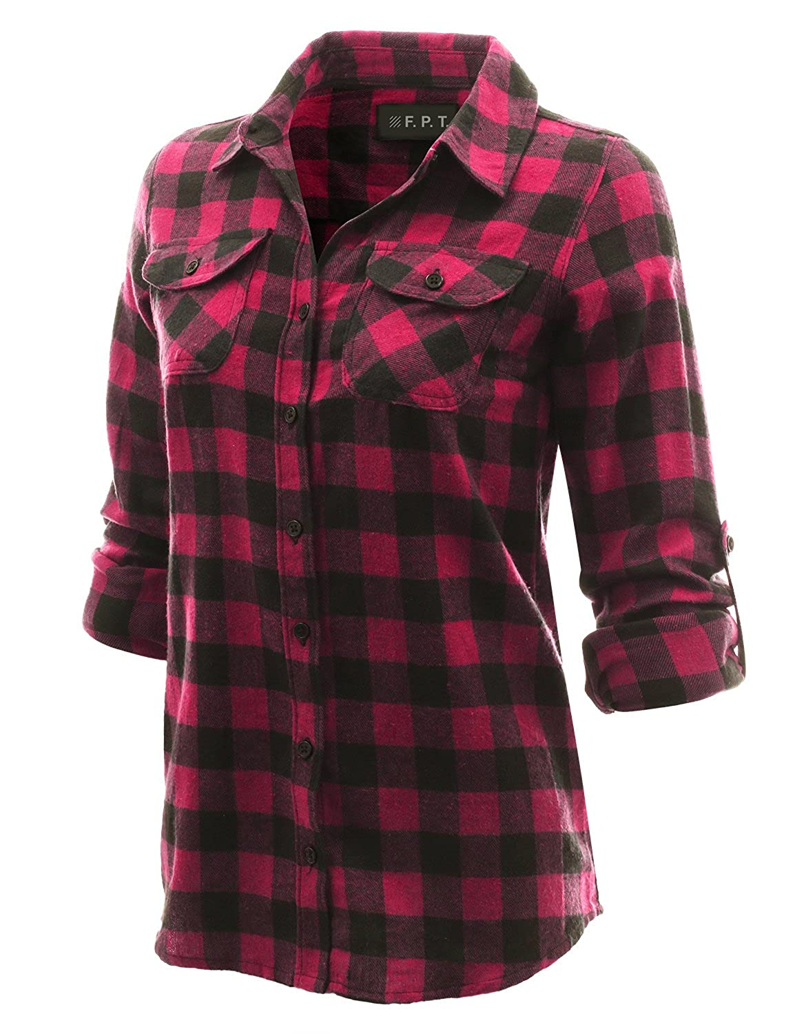 Bwpepr068_magenta Fifth Parallel Threads Women's Roll Up Long Sleeve Cotton Plaid Button Down Shirt BlackRed