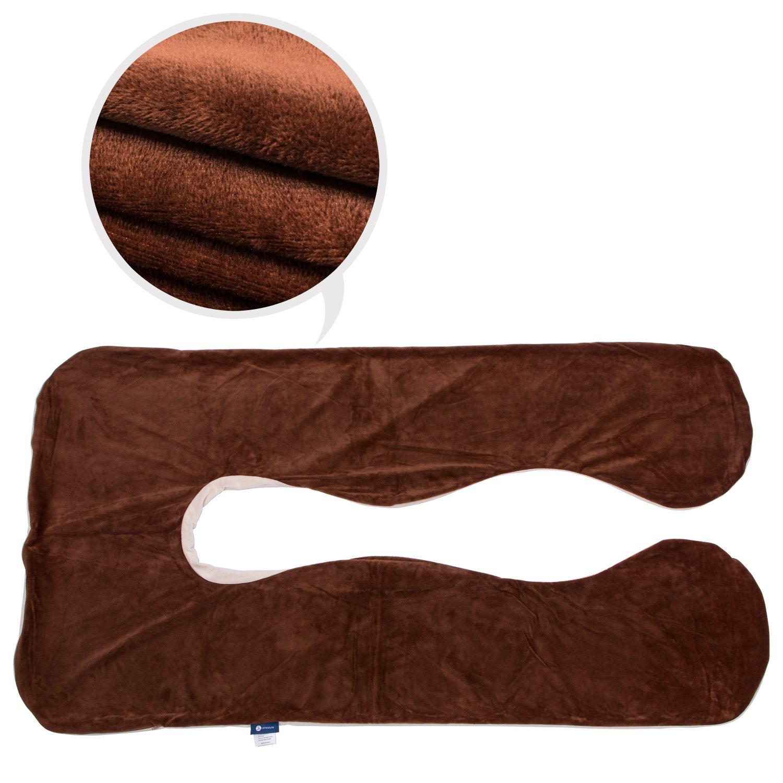 Pregnancy Body Pillowcase Oversize Plush U Shaped Pillow Cover (Beige pillowcase)