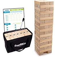 Giant Tumbling Timber Toy - Jumbo JR. Wooden Blocks Floor Game for Kids and Adults, 56 Pieces, Premium Pine Wood, Carry…