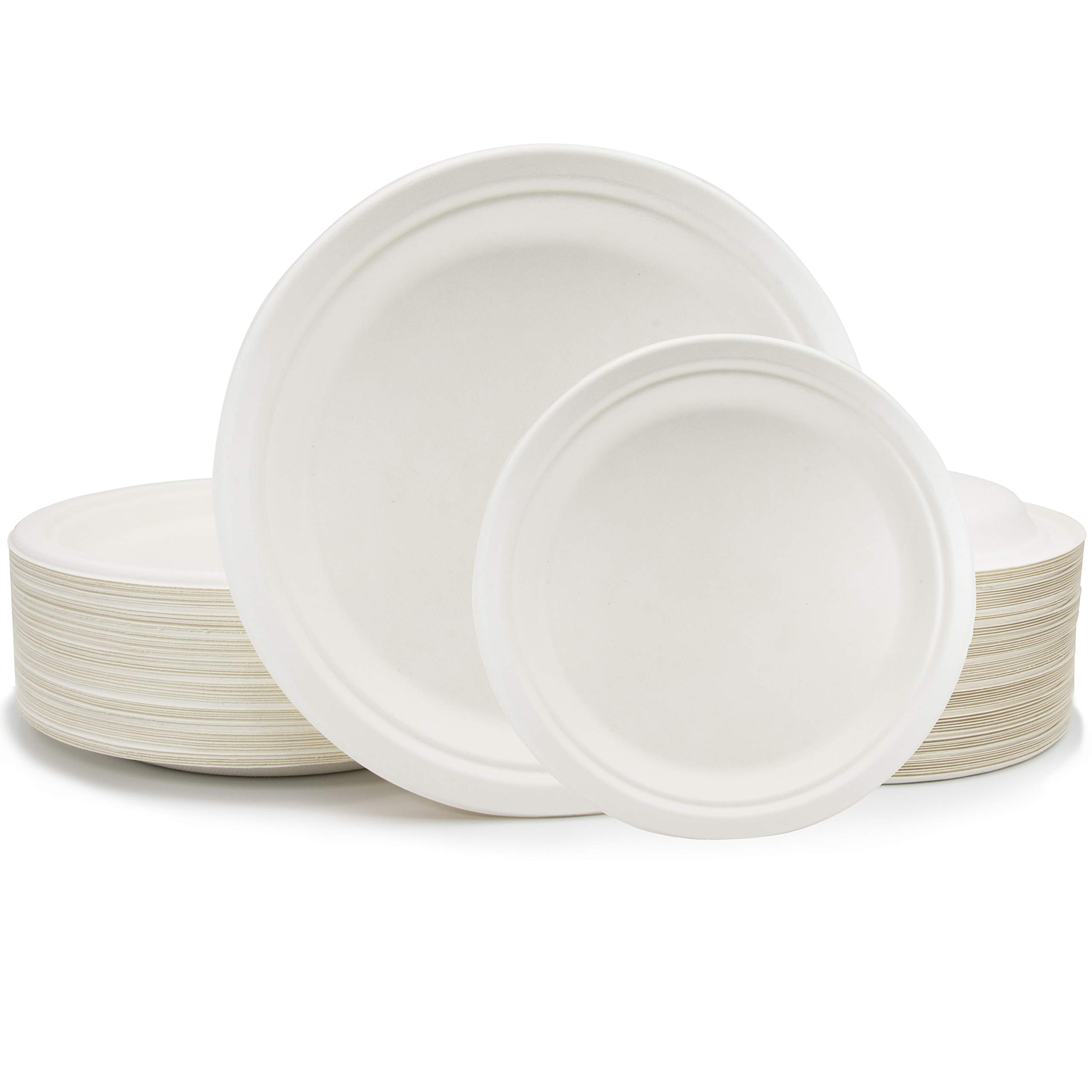 Compostable Eco Friendly Round Dinnerware - 50 Dinner 10 In Plates and 50 Dessert Appetizer Dessert 7 In Plates, Biodegradable Sugarcane Bagasse