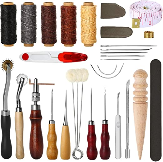 Leather Tooling Kit 19 Pcs Hand Sewing Craft Tools,Craft Leather DIY Hand Stitching Sewing Tool Set Including Including Awl Waxed Thread Kit for Beginner,Leather Making,Leather Craft DIY