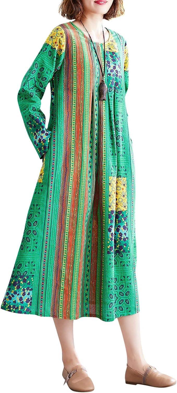Boho summer Dress Cotton dress Green dress with pockets