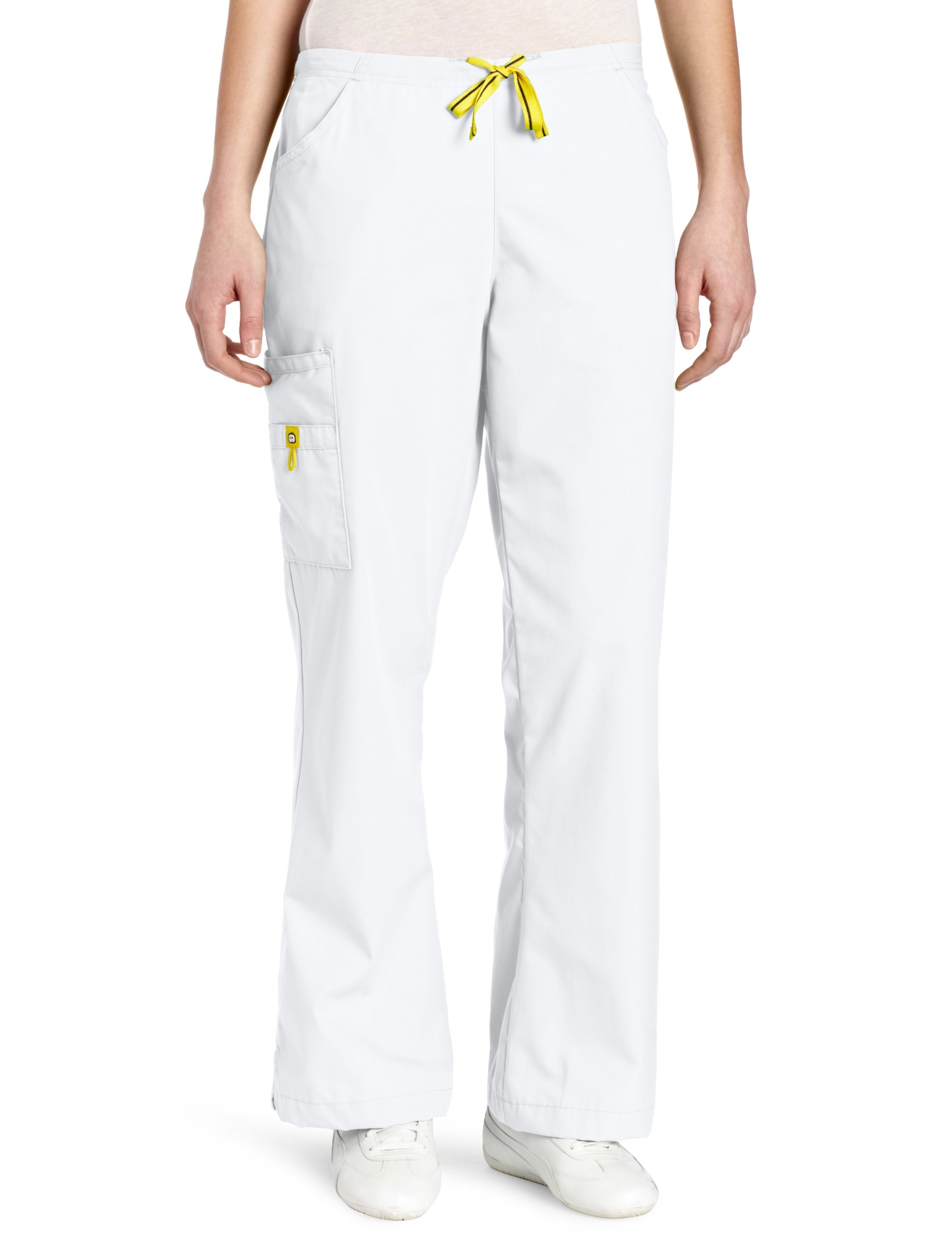 WonderWink Women's Scrubs Romeo 6 Pocket Flare Leg Pant, White, Large