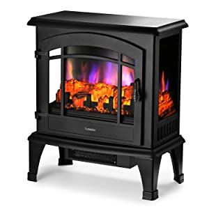 TURBRO Suburbs TS23 Freestanding Electric Fireplace Stove Heater - Multi Log Flame Effect - Brightness Adjustable Effect - CSA Certified - 23'' 1400W - Black