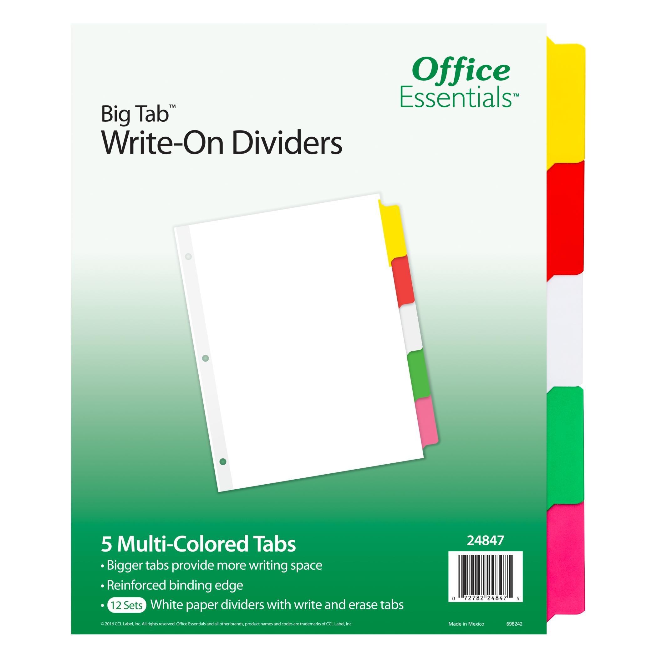 Office Essentials Big Tab Write-On Dividers, 8-1/2'' x 11'', 5 Tab, Multicolor Tab, 12 Sets (24847)
