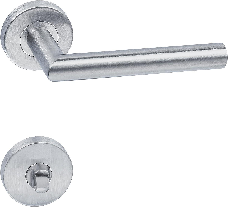 TecTake Manija para Puerta pestillo Tirador picaporte Acero Inoxidable Estera - Varios Modelos - (WC   No. 402382)